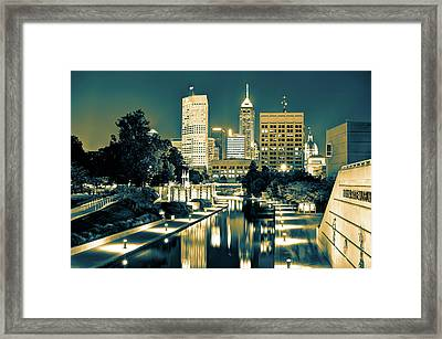 Indianapolis Downtown City Skyline - Sepia Burn Framed Print by Gregory Ballos