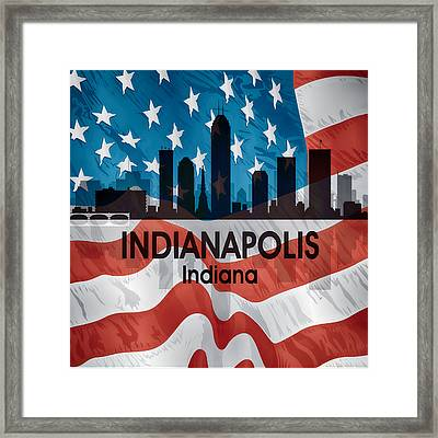 Indianapolis In American Flag Squared Framed Print