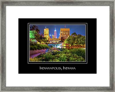 Indianapolis Indiana Skyline City Name Print - Color Framed Print by Gregory Ballos