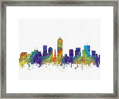 Indianapolis Indiana Skyline Color03 Framed Print by Aged Pixel