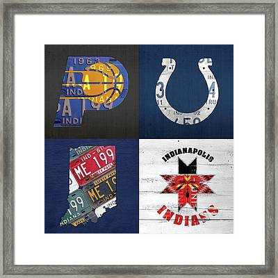 Indianapolis Indiana Sports Team License Plate Art Collage Map Pacers Colts Indians Framed Print