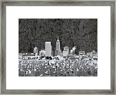 Indianapolis Skyline Abstract 10 Framed Print