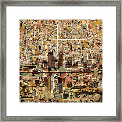 Indianapolis Skyline Abstract 2 Framed Print