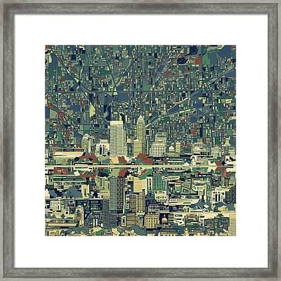 Indianapolis Skyline Abstract 3 Framed Print by Bekim Art