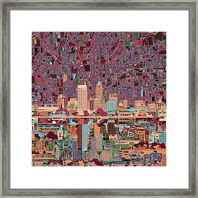 Indianapolis Skyline Abstract 4 Framed Print by Bekim Art
