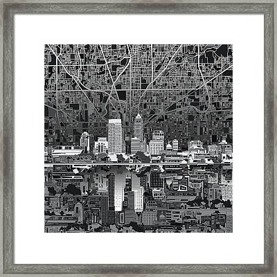 Indianapolis Skyline Abstract 5 Framed Print by Bekim Art