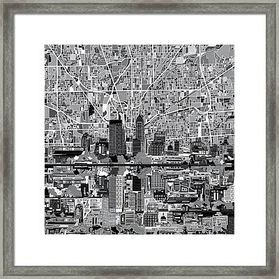 Indianapolis Skyline Abstract 6 Framed Print