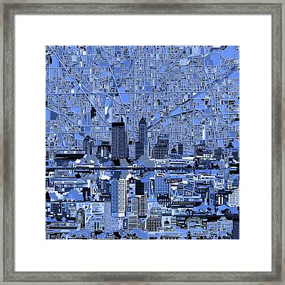 Indianapolis Skyline Abstract 7 Framed Print by Bekim Art