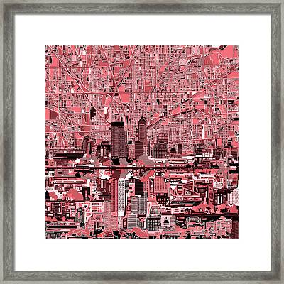 Indianapolis Skyline Abstract 8 Framed Print by Bekim Art