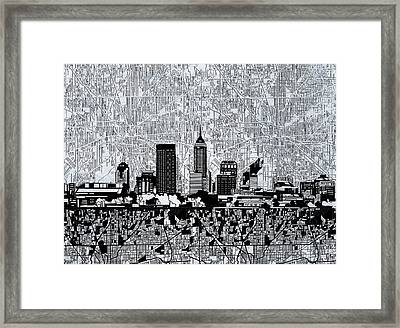 Indianapolis Skyline Abstract 9 Framed Print by Bekim Art