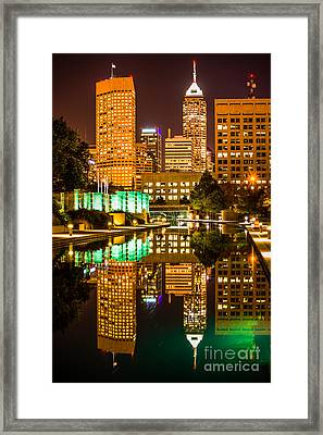 Indianapolis Skyline At Night Canal Reflection Picture Framed Print