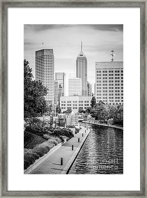 Indianapolis Skyline Black And White Photo Framed Print
