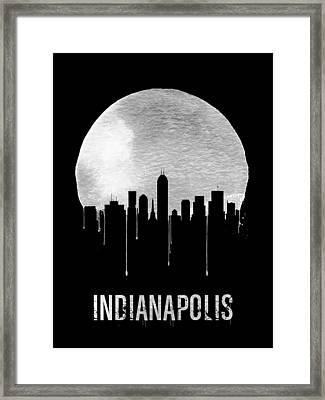 Indianapolis Skyline Black Framed Print by Naxart Studio