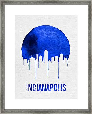 Indianapolis Skyline Blue Framed Print by Naxart Studio