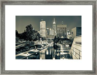 Indianapolis Skyline - Canal Walk Bridge View In Sepia Framed Print by Gregory Ballos