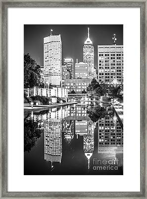 Indianapolis Skyline Central Canal Black And White Photo Framed Print