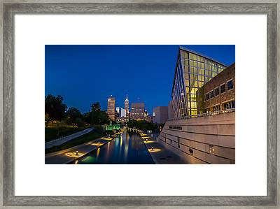 Indianapolis Skyline From The Canal At Night Framed Print by Ron Pate