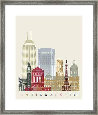 Indianapolis Skyline Poster Framed Print by Pablo Romero