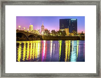 Indianapolis Skyline Water Reflections Framed Print by Gregory Ballos