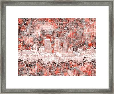 Indianapolis Skyline Watercolor 10 Framed Print