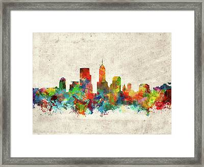 Indianapolis Skyline Watercolor 2 Framed Print by Bekim Art