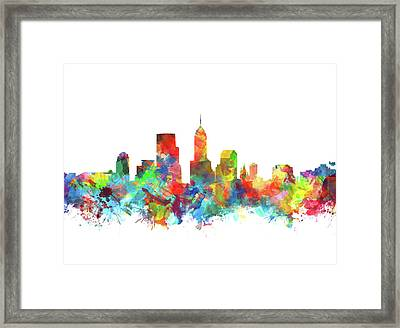 Indianapolis Skyline Watercolor 3 Framed Print