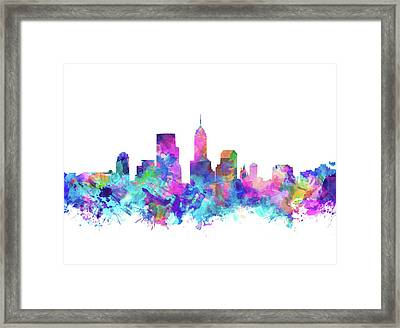 Indianapolis Skyline Watercolor 4 Framed Print