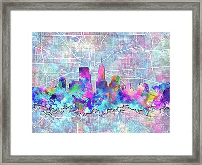 Indianapolis Skyline Watercolor 5 5 Framed Print