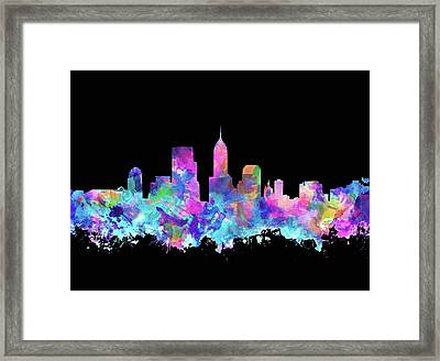 Indianapolis Skyline Watercolor 6 Framed Print