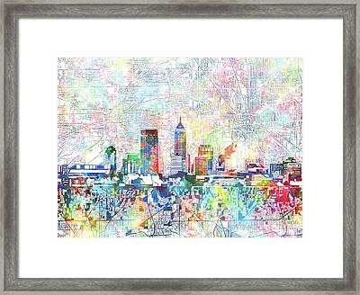Indianapolis Skyline Watercolor 7 Framed Print