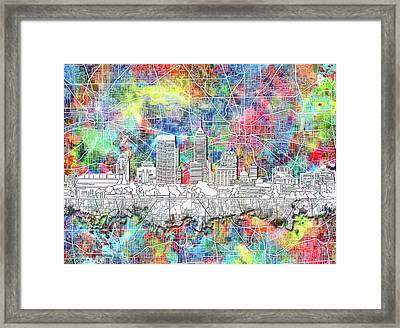 Indianapolis Skyline Watercolor 8 Framed Print