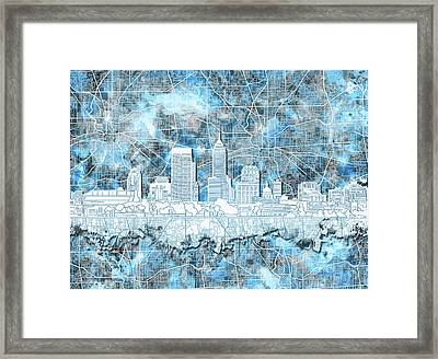 Indianapolis Skyline Watercolor 9 Framed Print
