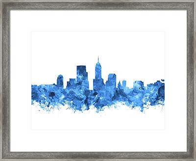 Indianapolis Skyline Watercolor Blue Framed Print