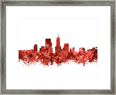 Indianapolis Skyline Watercolor Red Framed Print