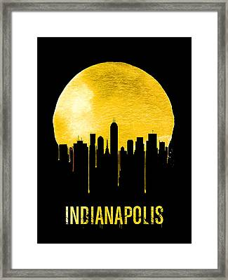 Indianapolis Skyline Yellow Framed Print by Naxart Studio