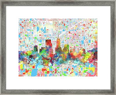 Indianapolis Watercolor Skyline Framed Print