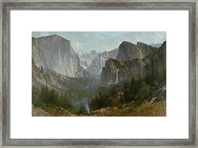 Indians At Campfire Yosemite Valley Framed Print by Thomas Hill