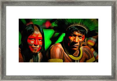 Indians Of Brazil - Pa Framed Print by Leonardo Digenio