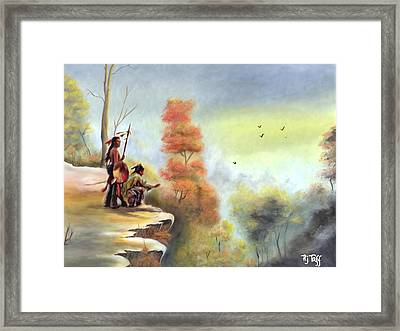 Indians On The Bluff Framed Print