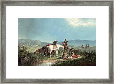 Indians Playing Cards Framed Print by John Mix Stanley