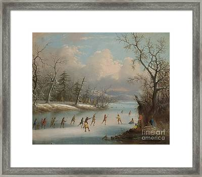 Indians Playing Lacrosse On The Ice, 1859 Framed Print by Edmund C Coates