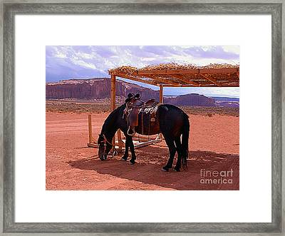 Indian's Pony In Monument Valley Arizona Framed Print