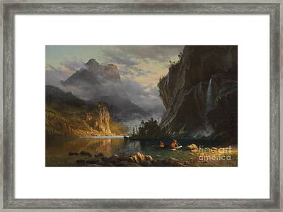 Indians Spear Fishing Framed Print by Albert Bierstadt