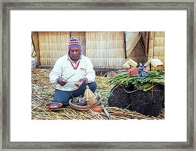 Indigenous Guide On Uros Islands Framed Print by Jess Kraft