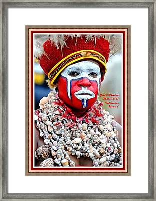Indigenous Woman L A With Decorative Ornate Printed Frame. Framed Print