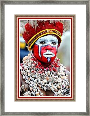 Indigenous Woman L B With Decorative Ornate Printed Frame. Framed Print