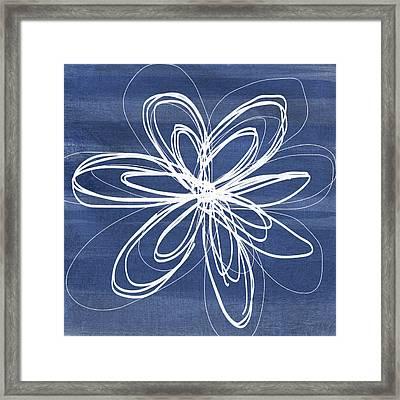 Indigo And White Flower- Art By Linda Woods Framed Print