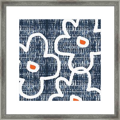 Framed Print featuring the mixed media Indigo And White Jumbo Flowers- Art By Linda Woods by Linda Woods