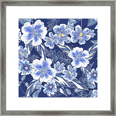 Indigo Batik Tile 1 - Camellia Framed Print
