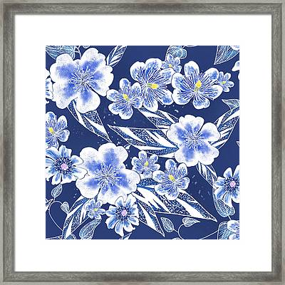 Indigo Batik Tile 2 - Ginger Leaves Framed Print